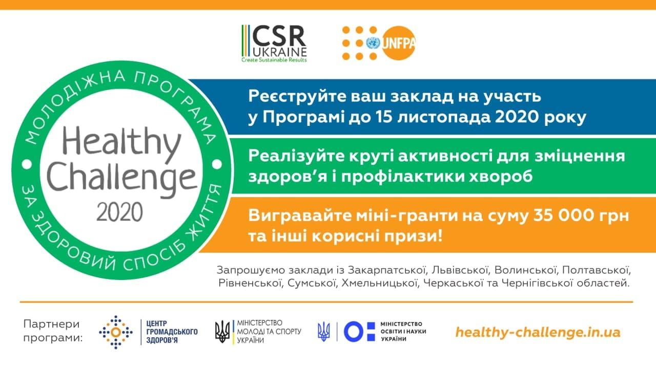 Реєстрація у програмі «Healthy Challenge 2020» для закладів передвищої та профтехосвіти у різних регіонах України!